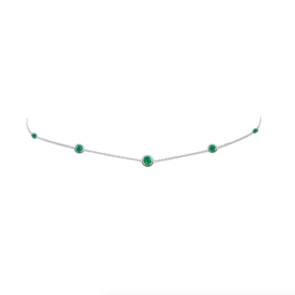 5 Emerald Orbit Bezel Choker White Gold
