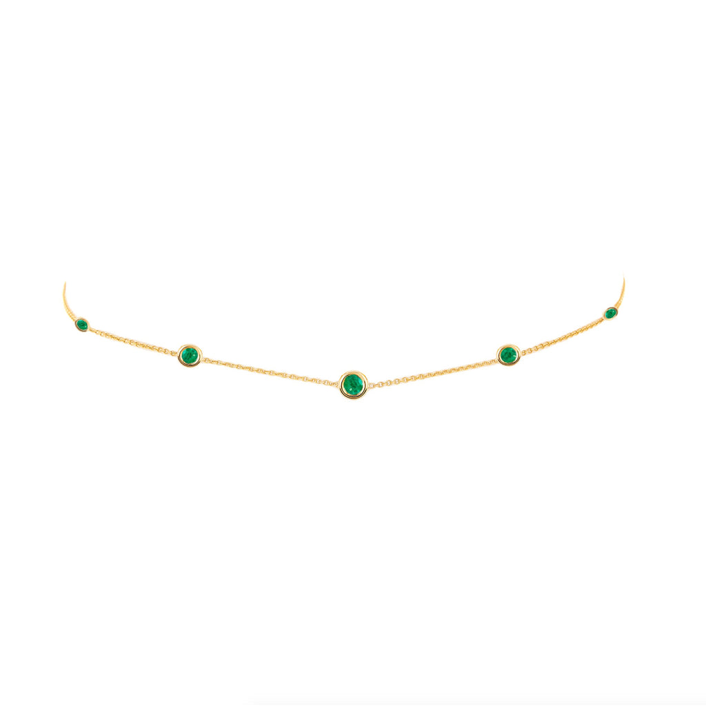 5 Emerald Orbit Bezel Choker Yellow Gold