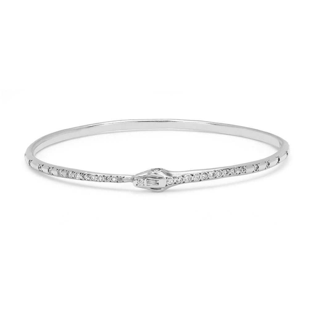 Kundalini Diamond Snake Bangle White Gold