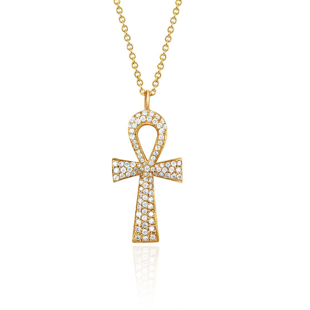 Eternal Ankh Full Pavé Necklace Yellow Gold
