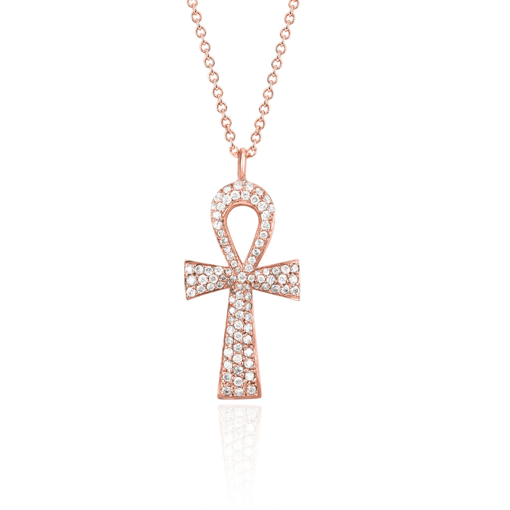 Eternal Ankh Full Pavé Necklace Rose Gold