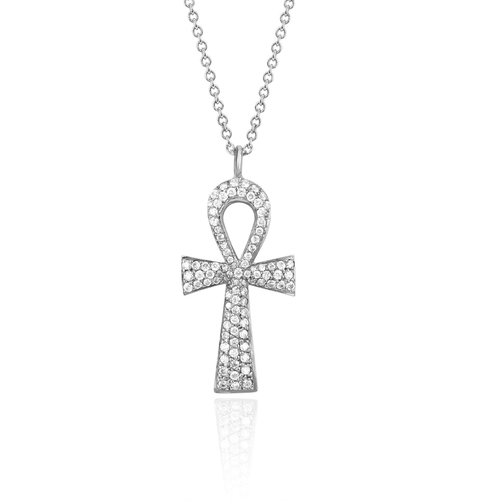 Eternal Ankh Full Pavé Necklace White Gold