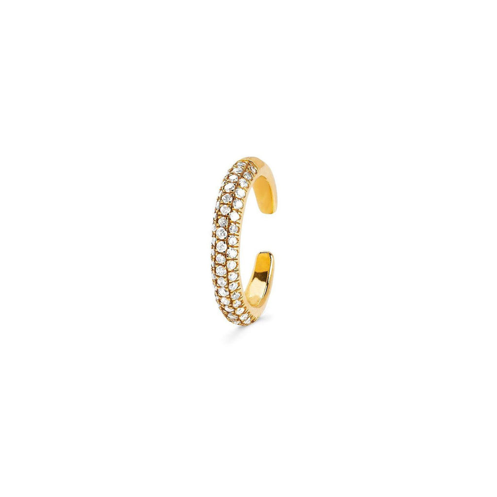 Micro Pavé Diamond Ear Cuff Yellow Gold