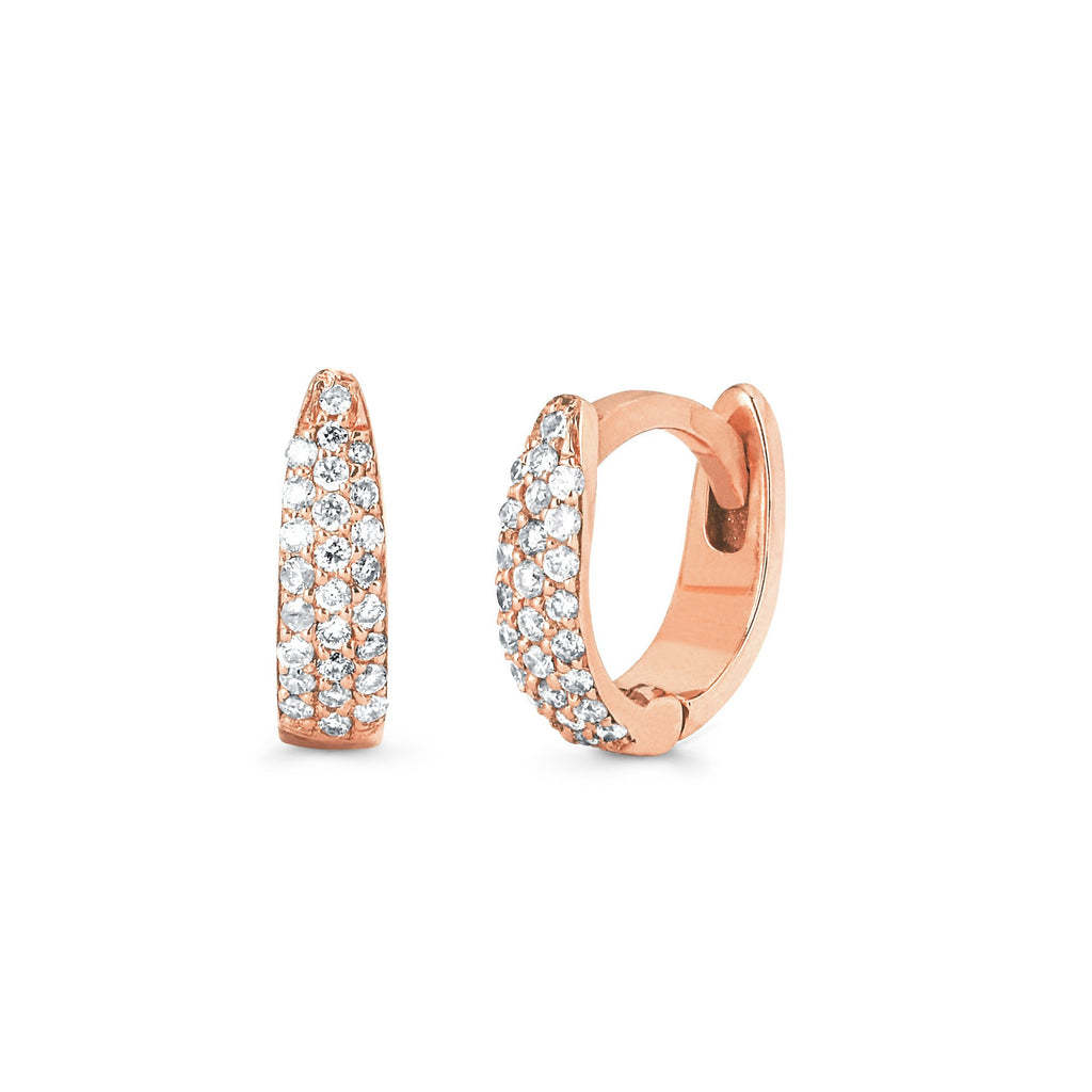Micro Pave Tusk Huggies Rose Gold