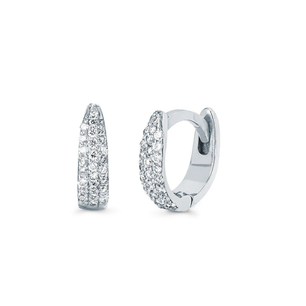 Micro Pave Tusk Huggies White Gold