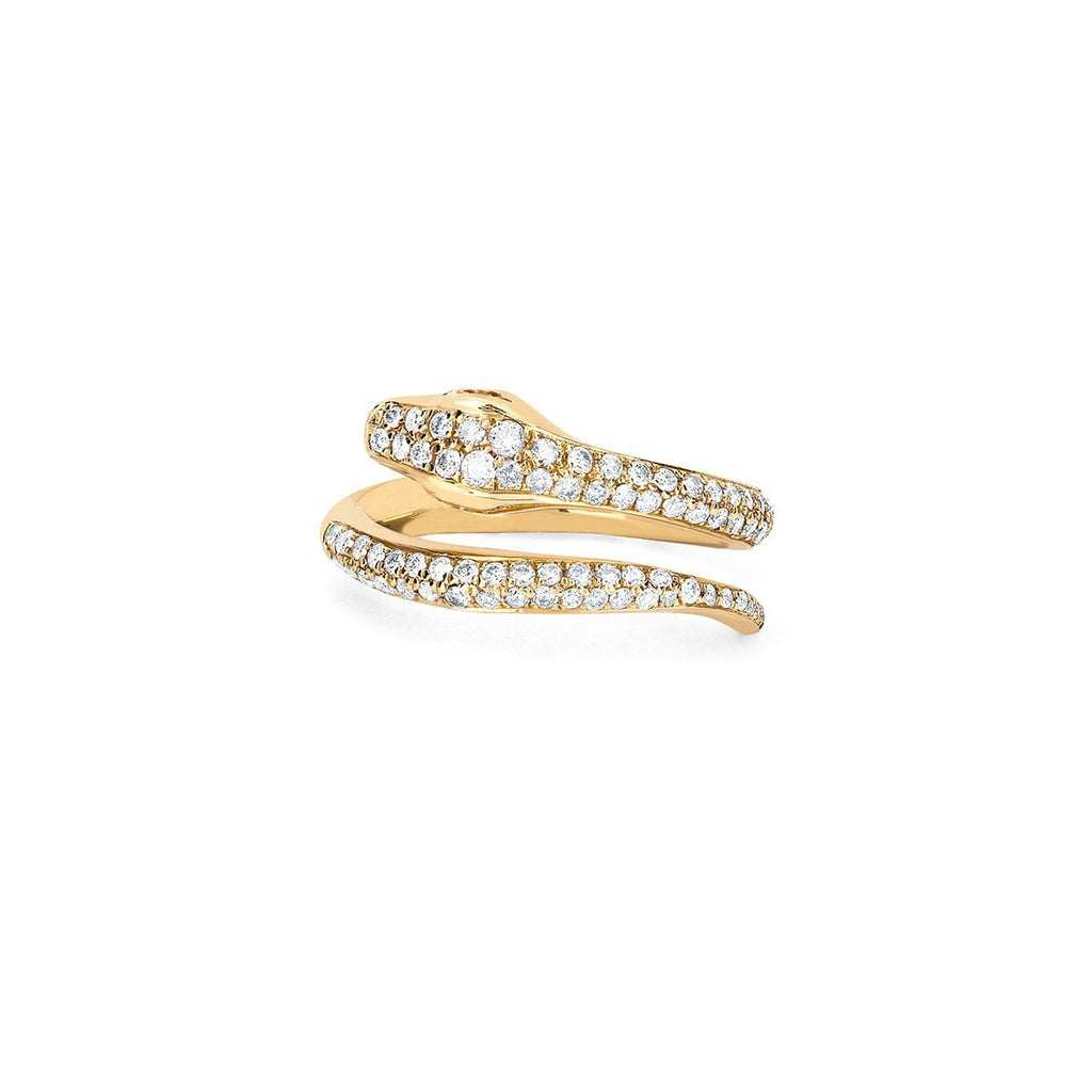 Snake Coil Pinky Ring with Pavé Diamonds Yellow Gold