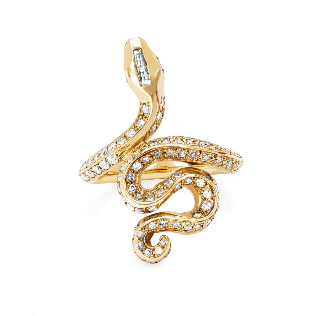 Kundalini Snake Ring with Pavé Diamonds Yellow Gold