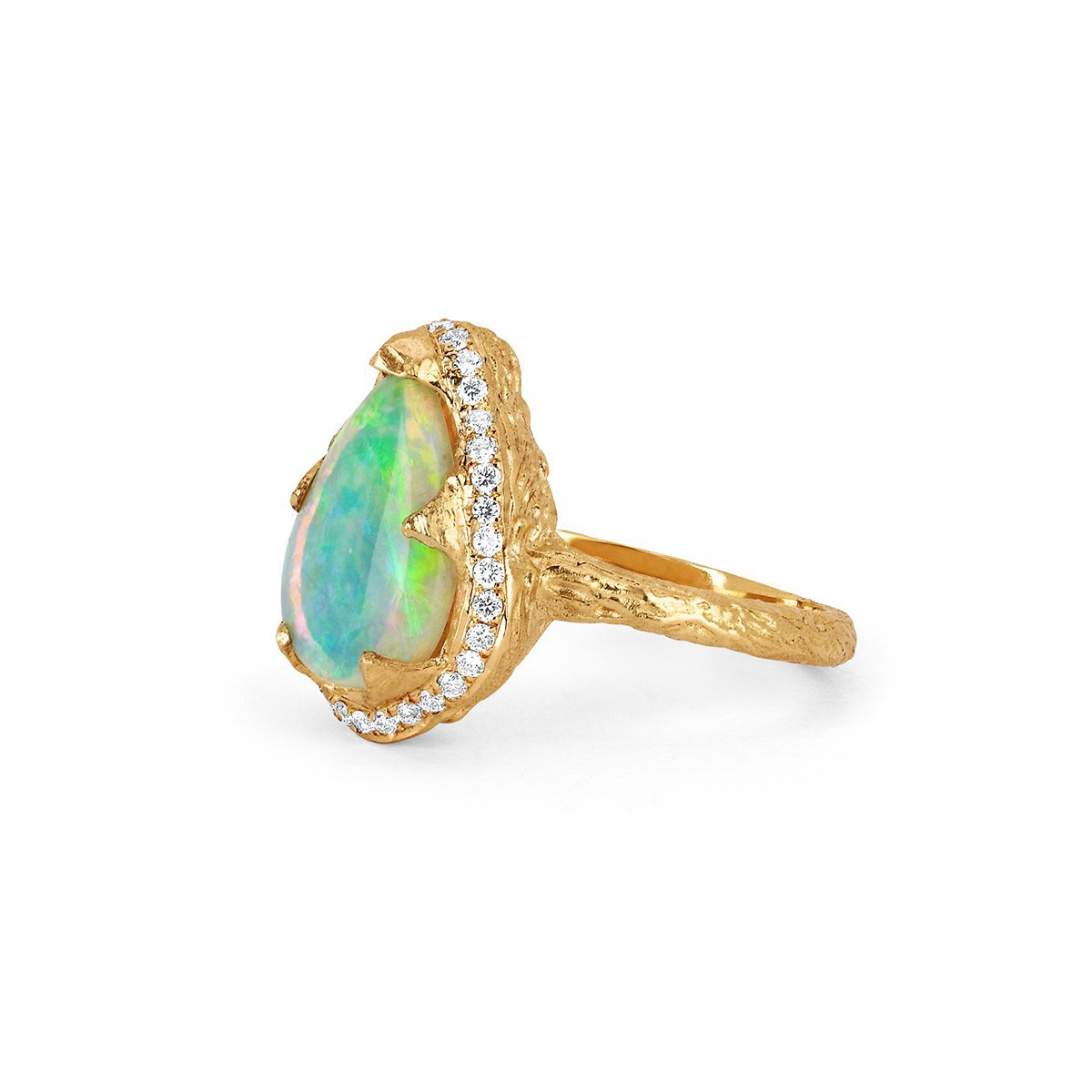 NEW! 18k One of A Kind Water Drop Premium Blue Opal Queen Ring with Pavé Diamond Halo