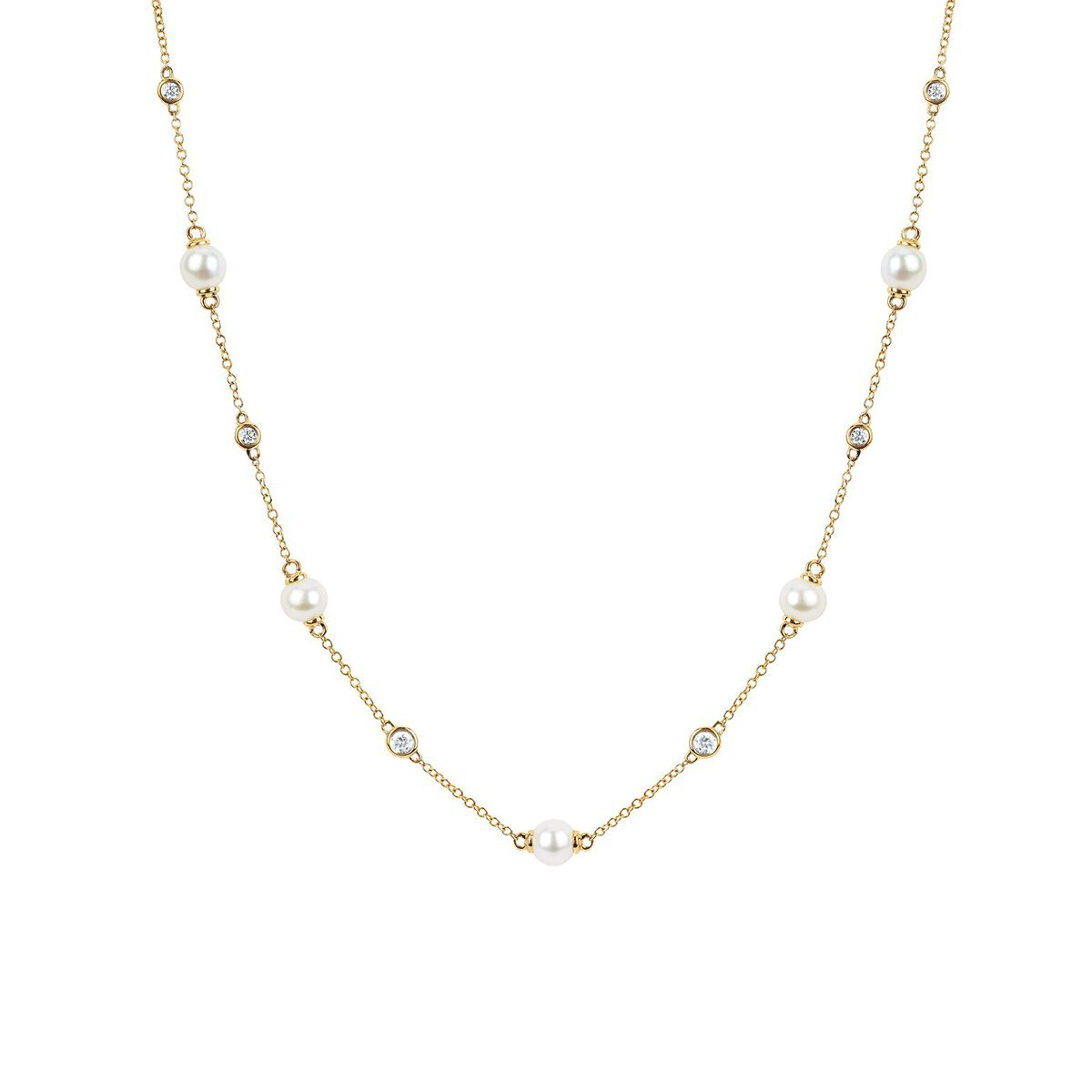 5 Lunar Pearl and Diamond Necklace
