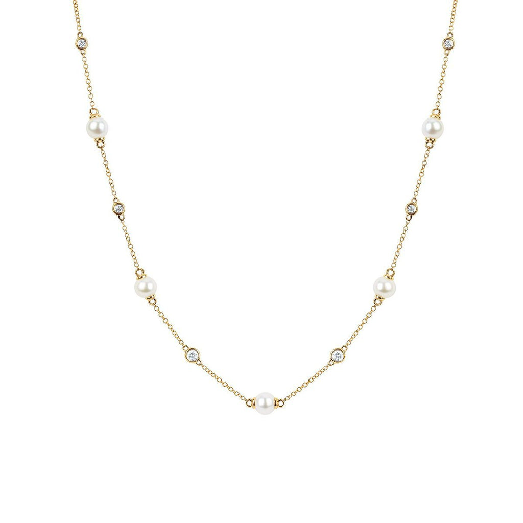 NEW! 5 Lunar Pearl and Diamond Necklace NEW! 5 Lunar Pearl and Diamond Necklace