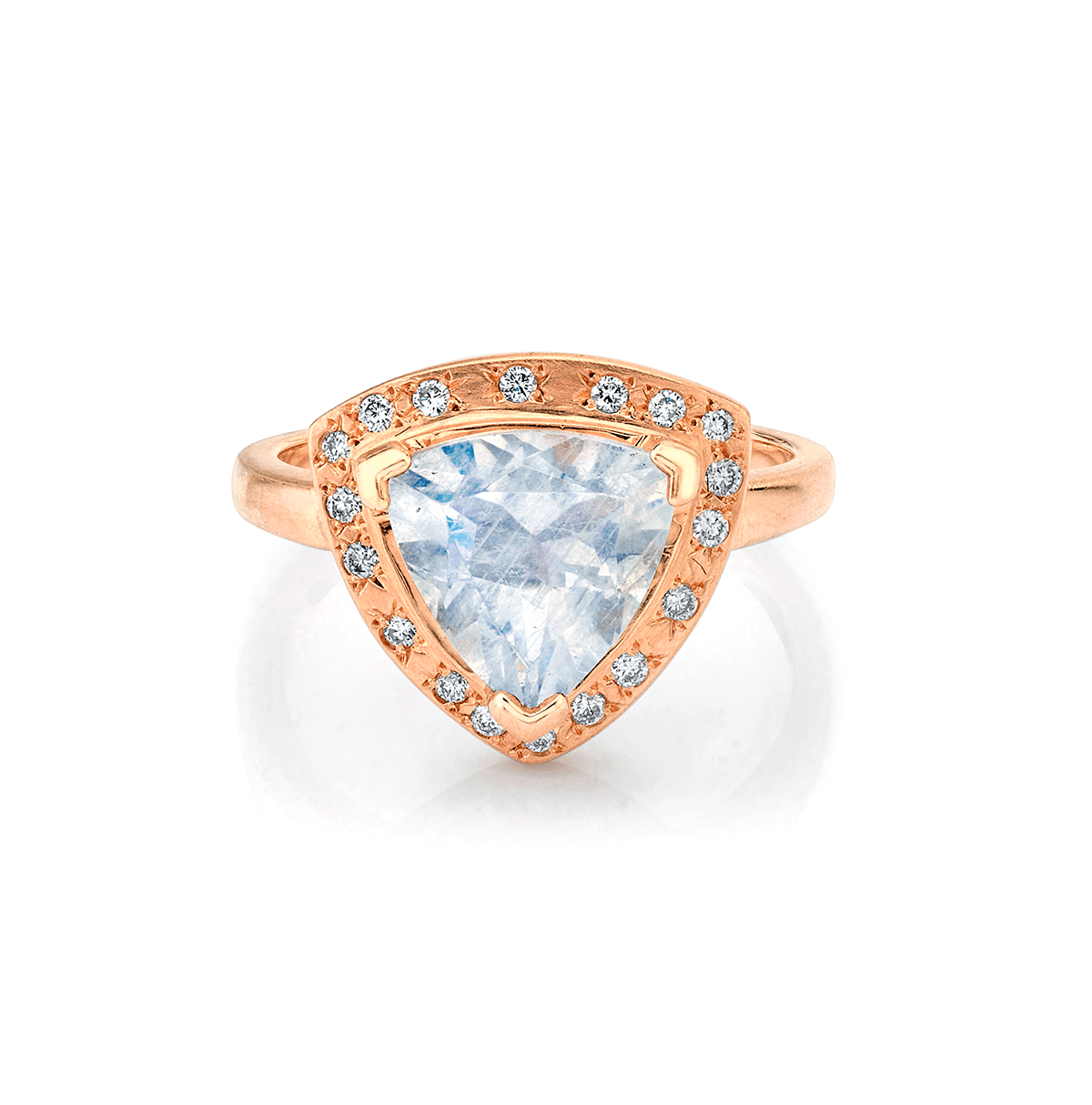 NEW! Premium Trillion Moonstone Wilderness Ring with Sprinkled Diamonds