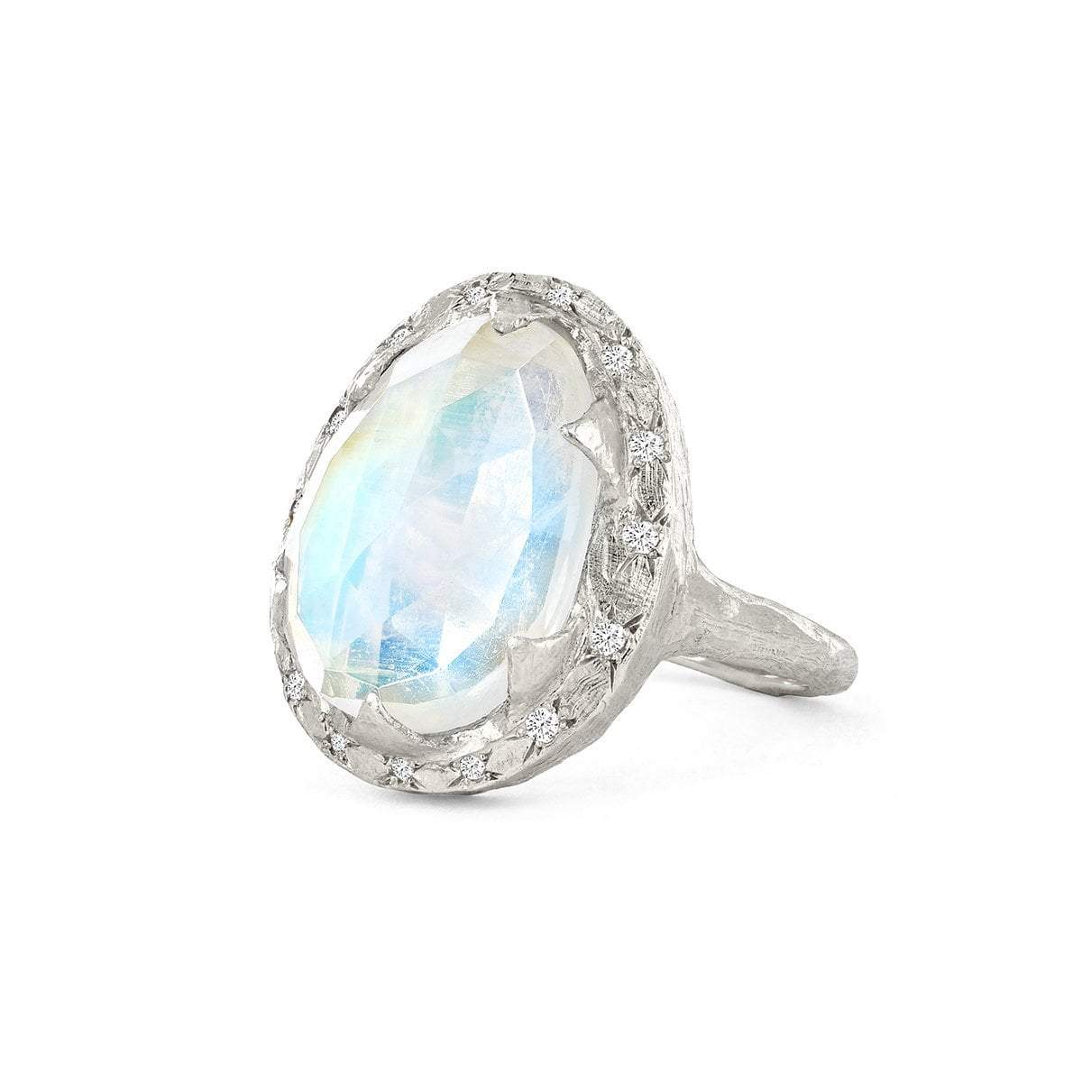 Queen Premium Rosecut Oval Moonstone Ring with Sprinkled Diamonds