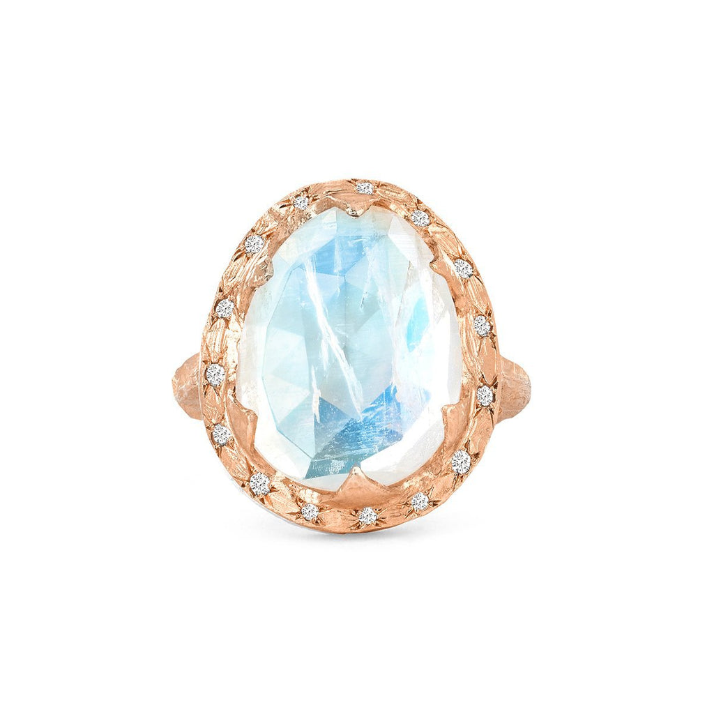 NEW! Queen Premium Rosecut Oval Moonstone Ring with Sprinkled Diamonds NEW! Queen Premium Rosecut Oval Moonstone Ring with Sprinkled Diamonds