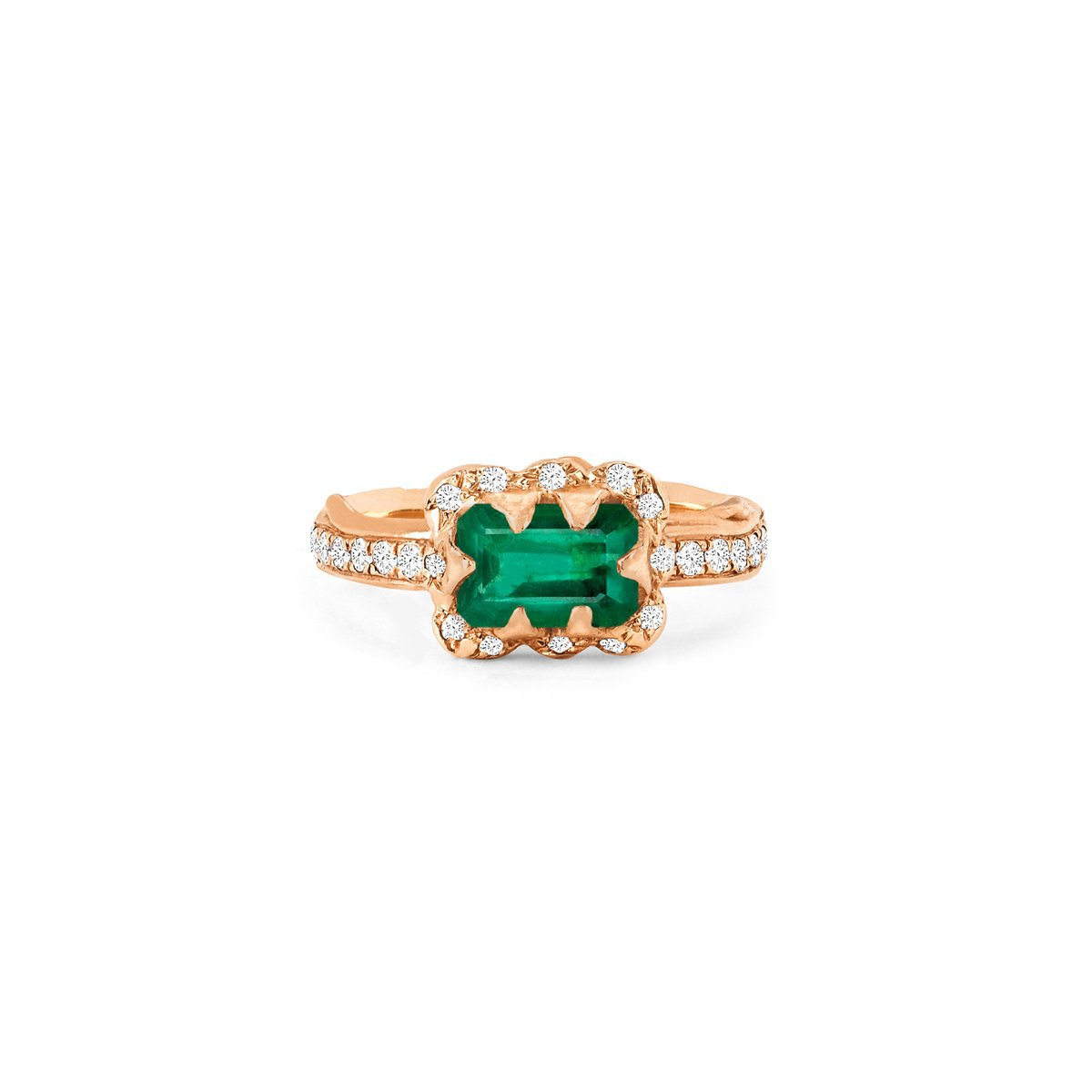 Micro Queen Emerald Cut Emerald Ring with Sprinkled Diamonds
