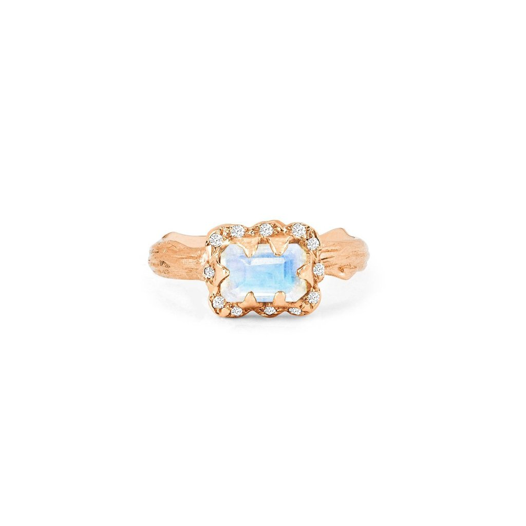 Micro Queen Emerald Cut Moonstone Ring with Sprinkled Diamonds