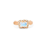 Micro Queen Emerald Cut Moonstone Ring with Sprinkled Diamonds Micro Queen Emerald Cut Moonstone Ring with Sprinkled Diamonds
