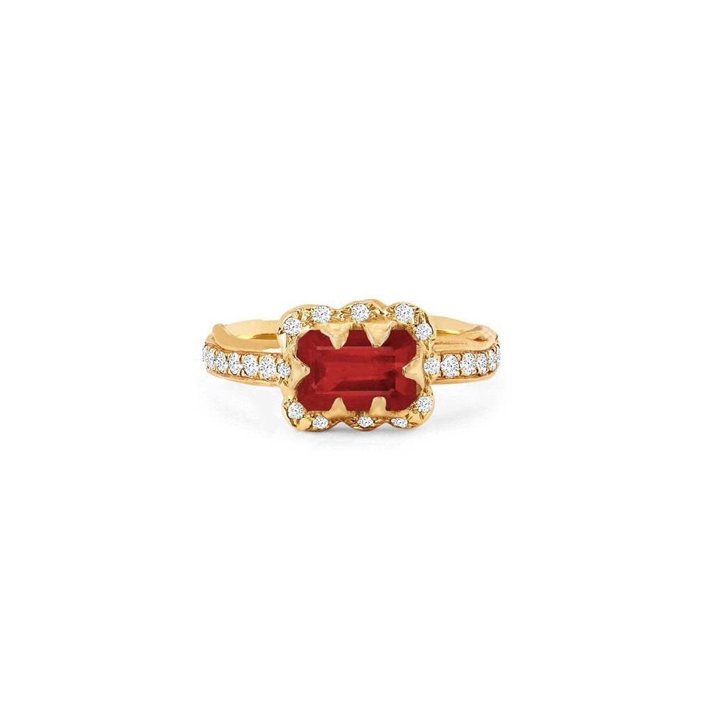 Micro Queen Emerald Cut Ruby Rose Thorn Ring with Sprinkled Diamonds