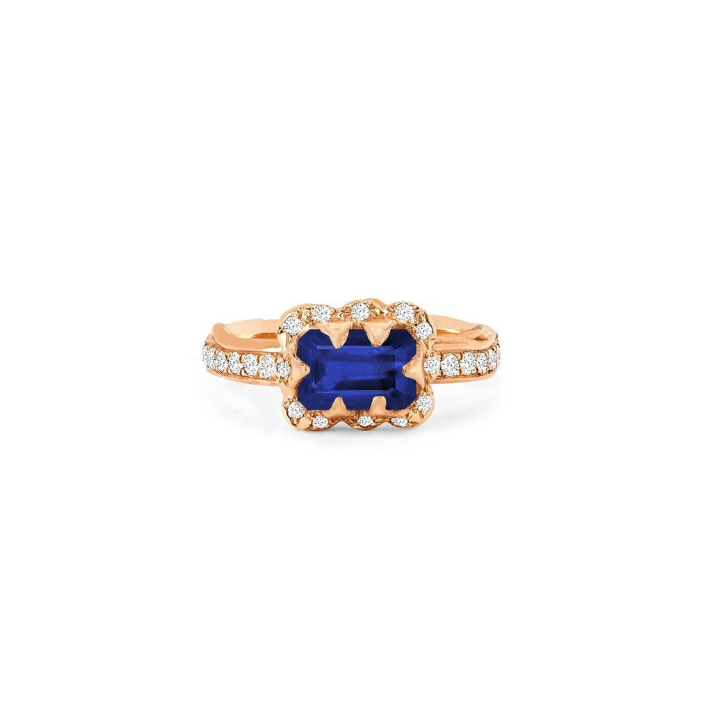 Micro Queen Emerald Cut Sapphire Rose Thorn Ring with Sprinkled Diamonds