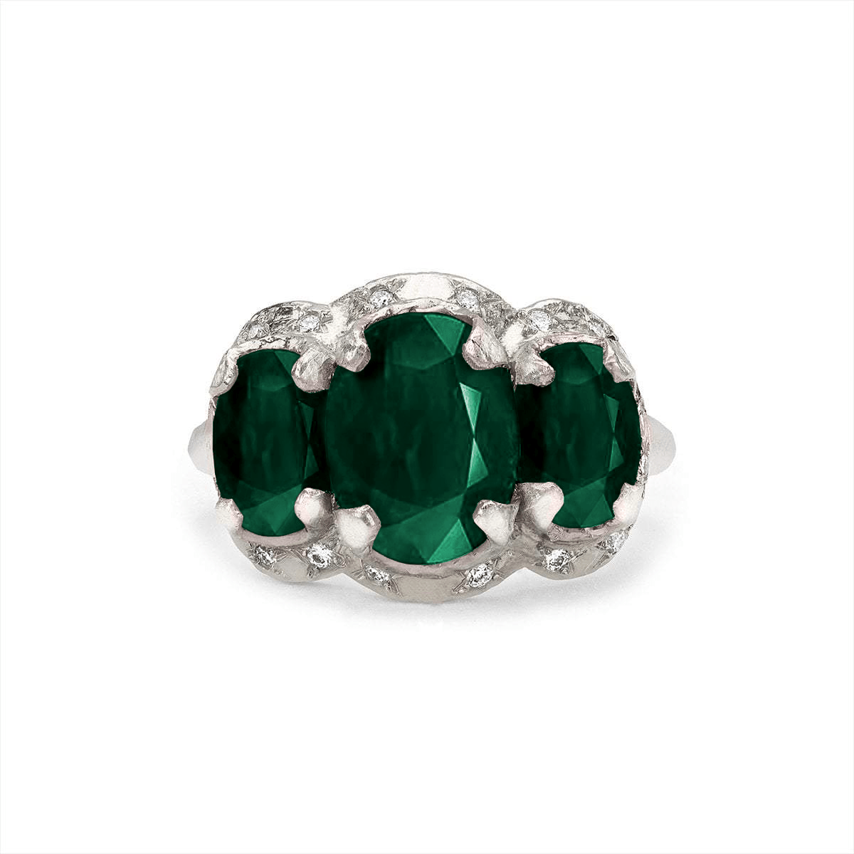 NEW! Queen Triple Goddess Emerald Ring with Sprinkled Diamonds