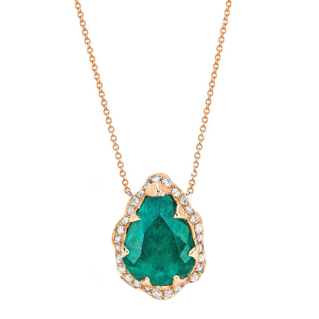 18k Queen Water Drop Colombian Emerald Necklace with Full Pavé Diamond Halo