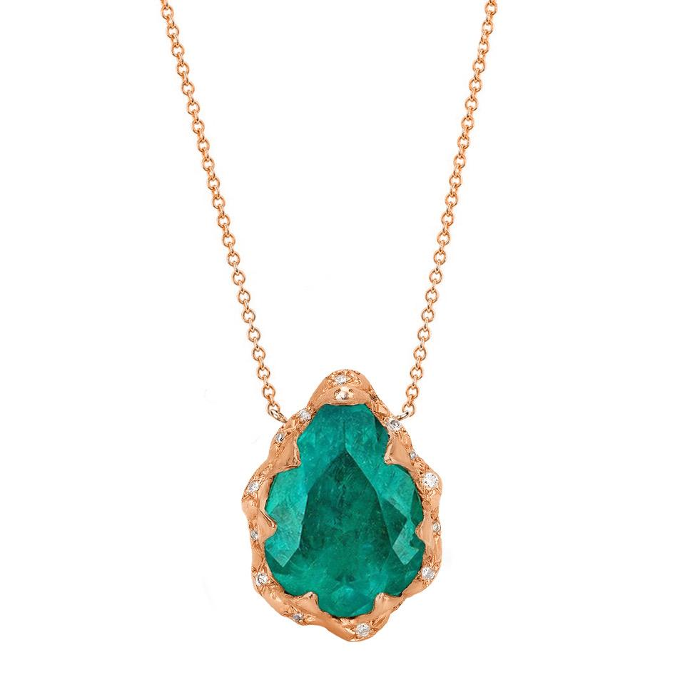 18k Colombian Water Drop Queen Emerald Necklace with Sprinkled Diamonds