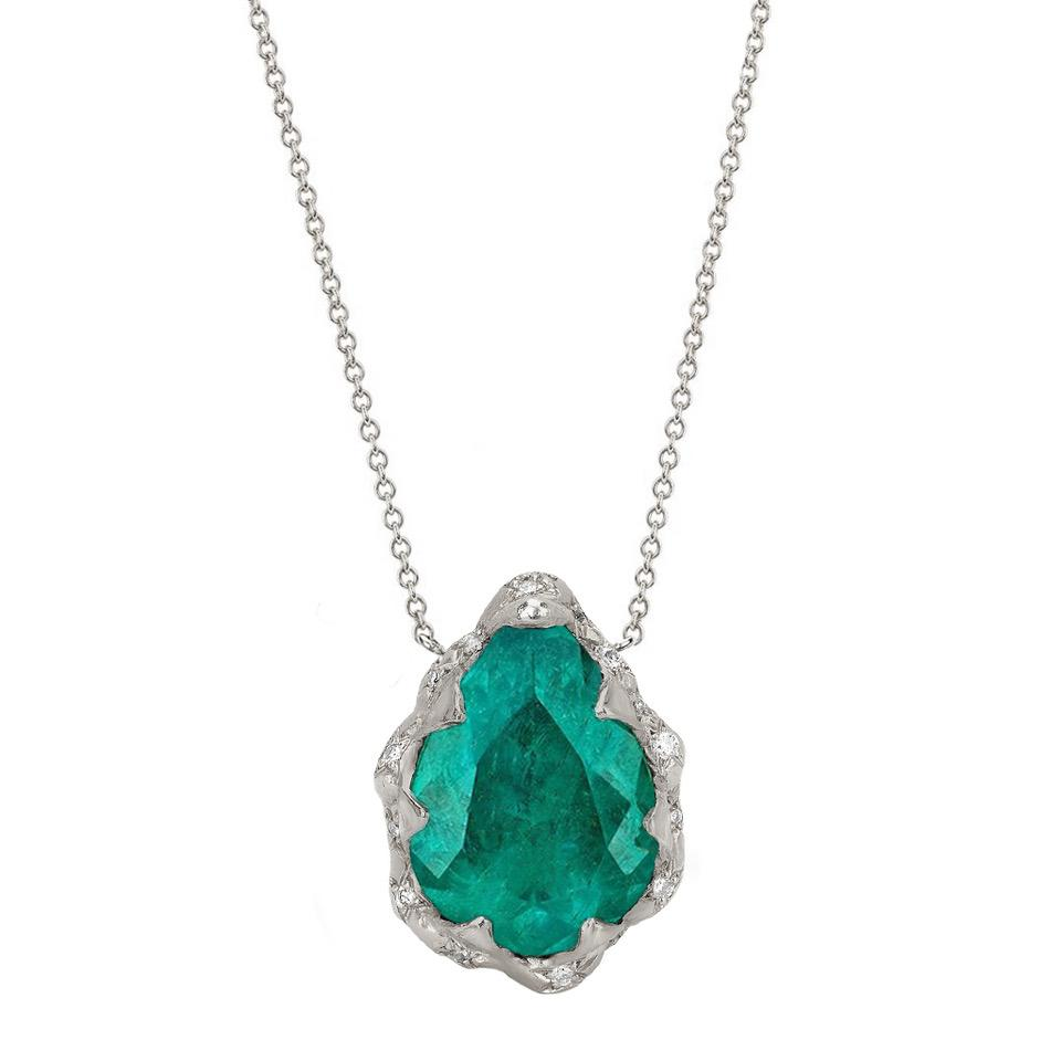 18k Columbian Water Drop Queen Emerald Necklace with Sprinkled Diamonds 18k Columbian Water Drop Queen Emerald Necklace with Sprinkled Diamonds