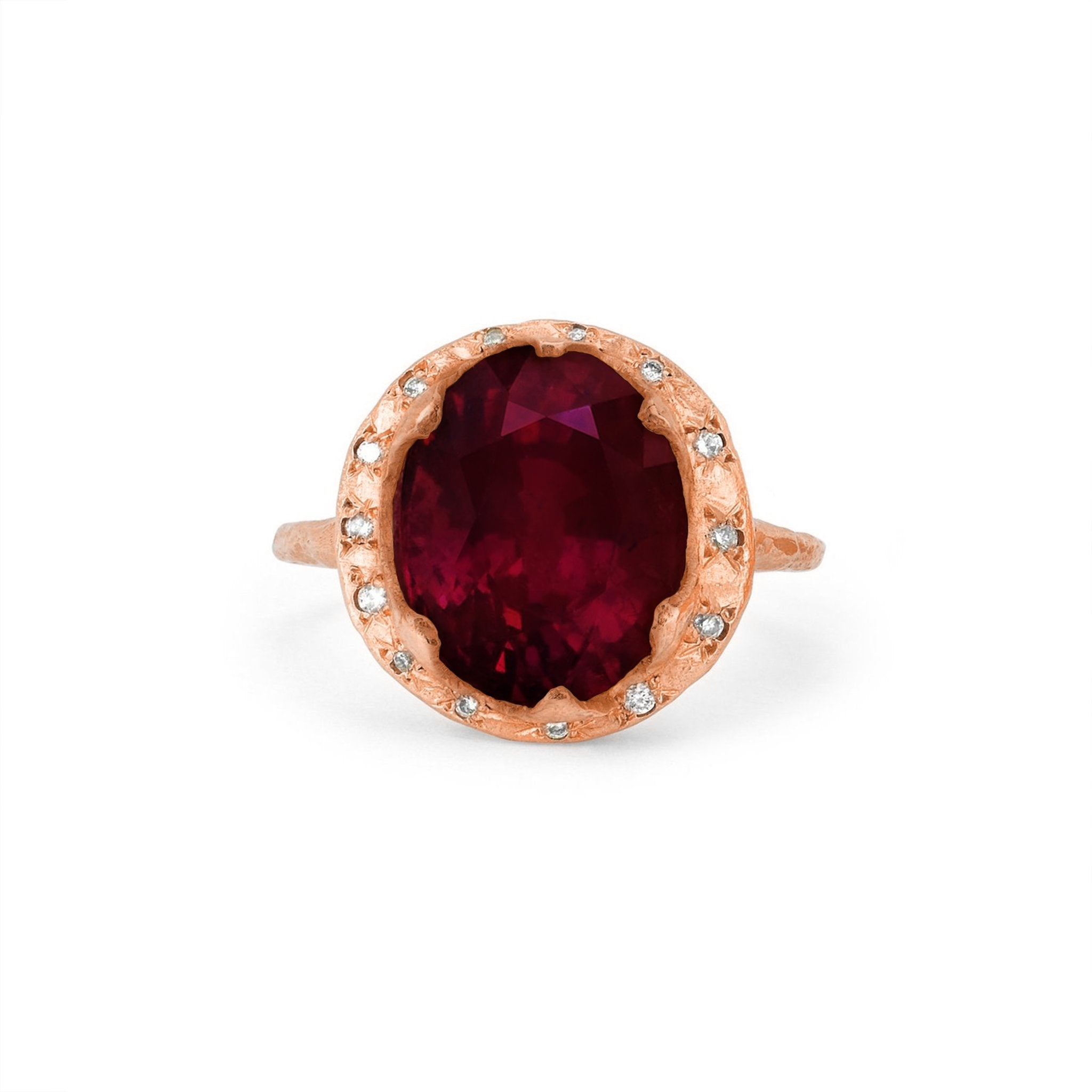 Queen Oval Ruby Ring with Sprinkled Diamonds
