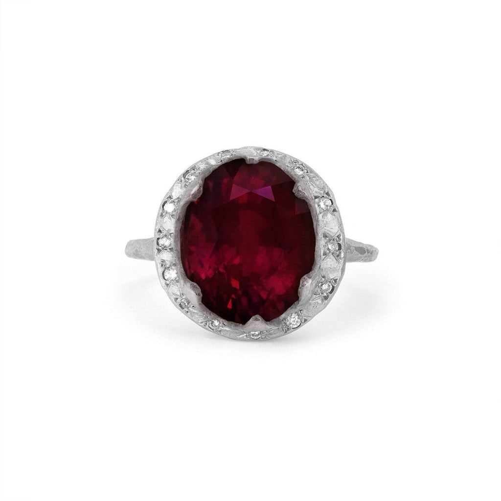Queen Oval Ruby Ring with Sprinkled Diamonds Queen Oval Ruby Ring with Sprinkled Diamonds