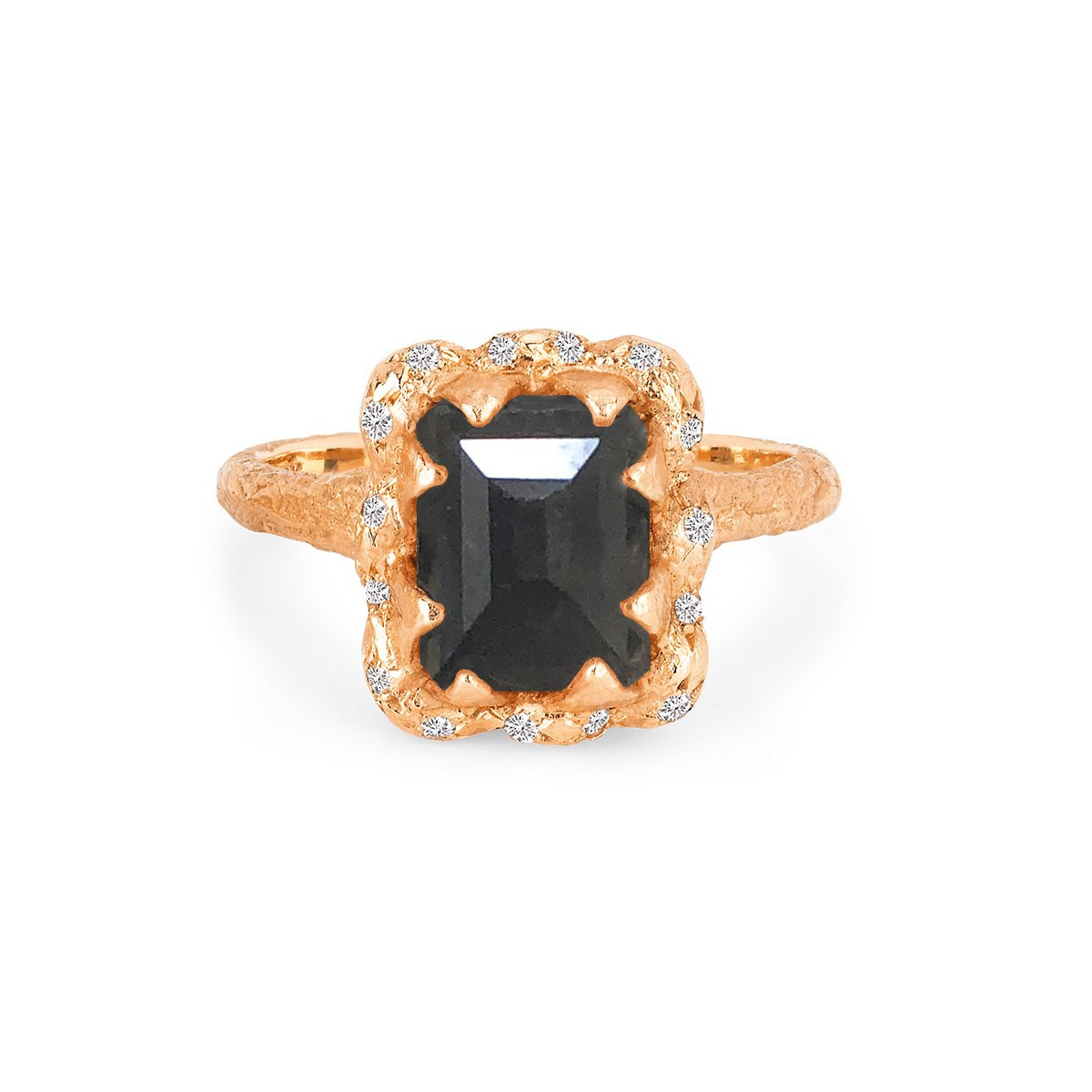 Queen Emerald Cut Black Diamond Ring with Sprinkled Diamonds