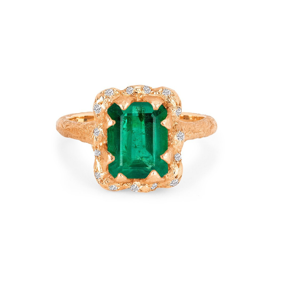 18k Queen Emerald Cut Emerald Ring with Sprinkled Diamonds