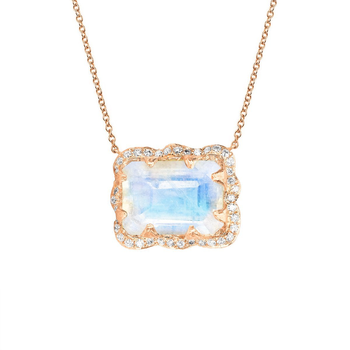 18k Queen Emerald Cut Moonstone Necklace with Pavé Diamond Halo