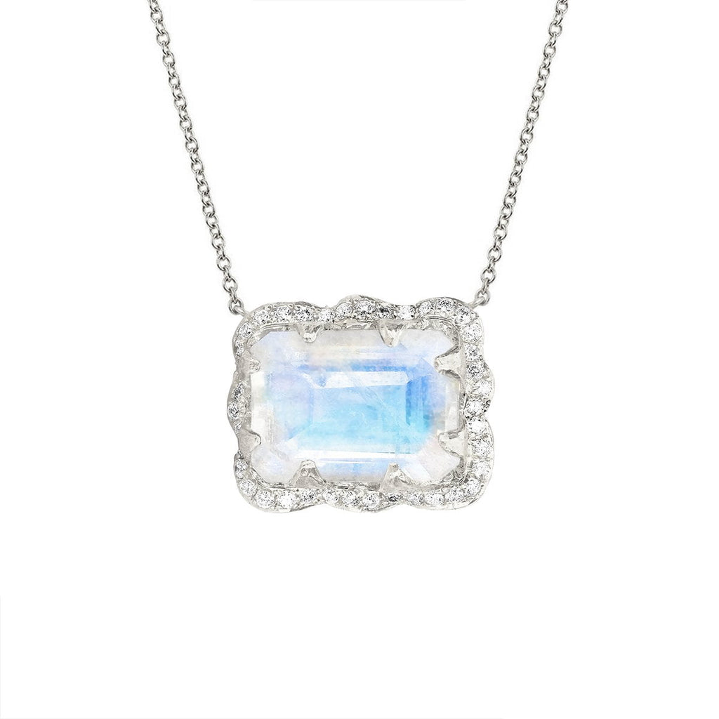 18k Queen Emerald Cut Moonstone Necklace with Pavé Diamond Halo 18k Queen Emerald Cut Moonstone Necklace with Pavé Diamond Halo