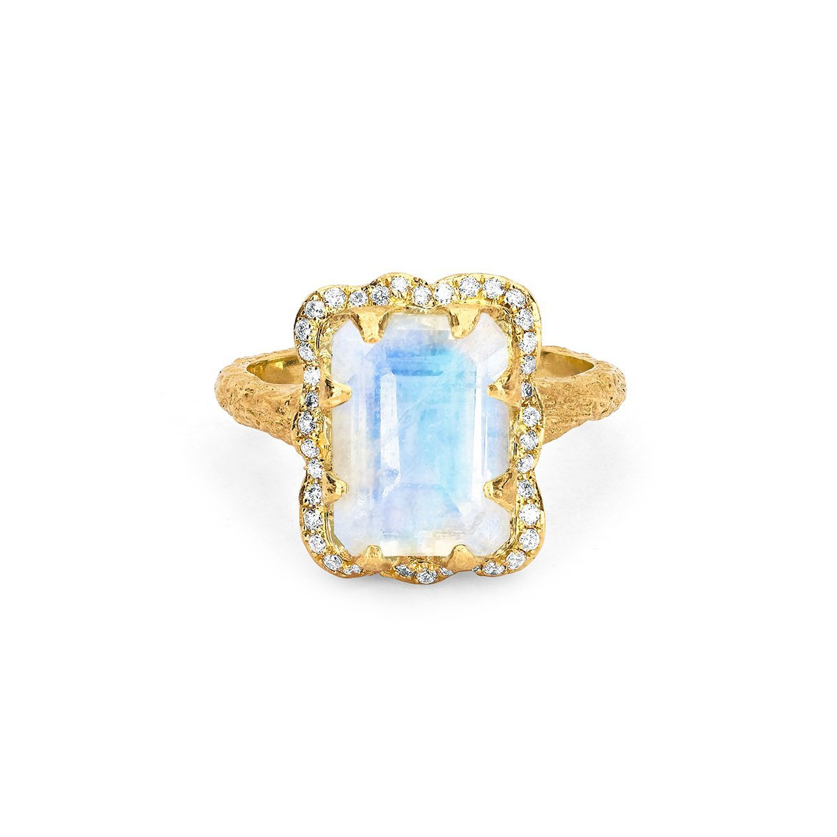 18k Queen Emerald Cut Moonstone Ring with Full Pavé Diamond Halo
