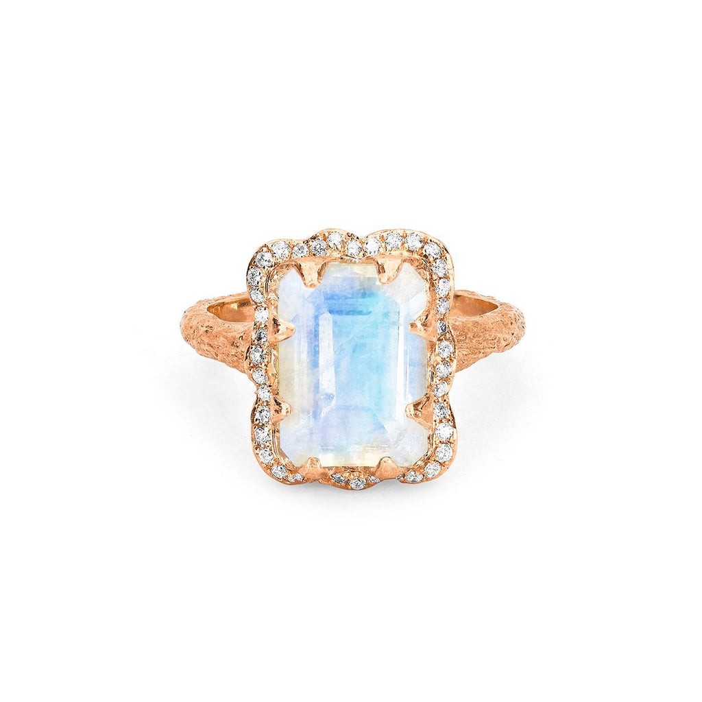 NEW! 18k Queen Emerald Cut Moonstone Ring with Full Pavé Diamond Halo NEW! 18k Queen Emerald Cut Moonstone Ring with Full Pavé Diamond Halo