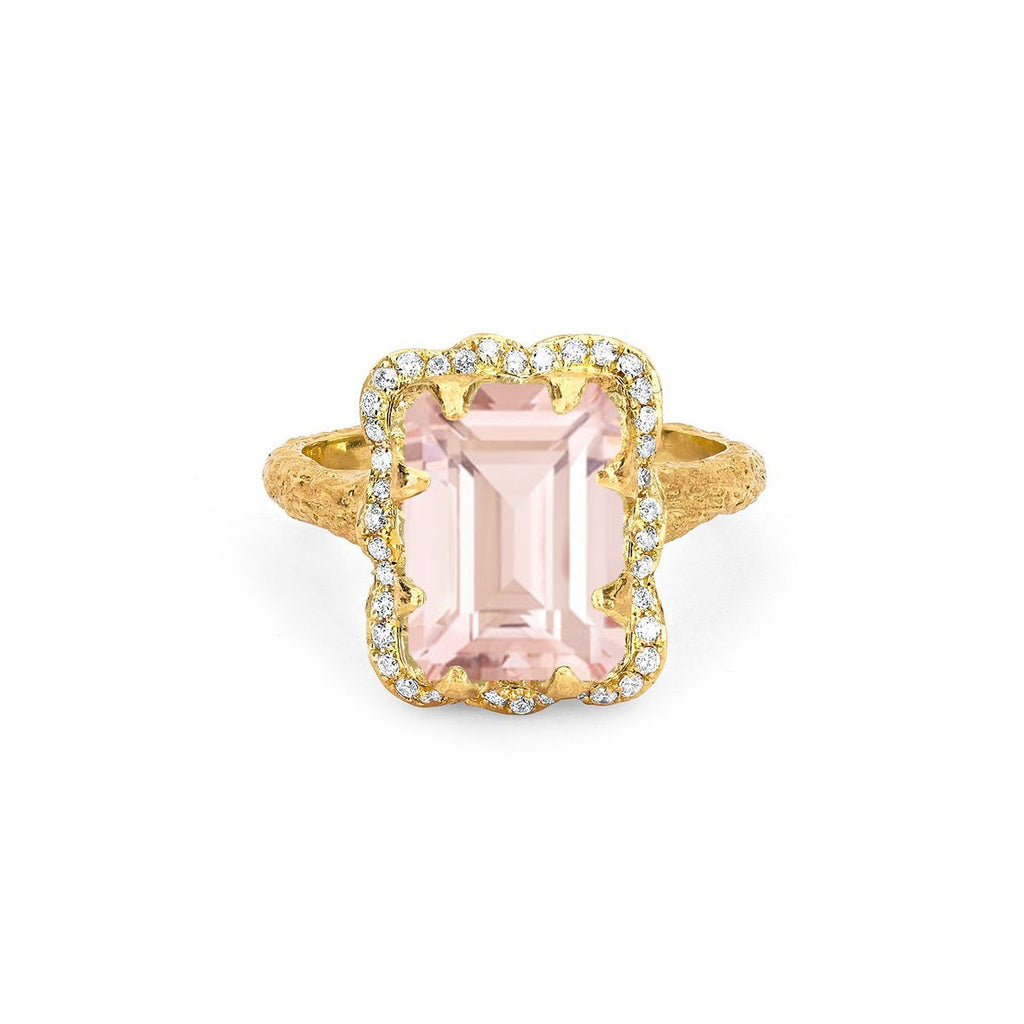 NEW! 18k Queen Emerald Cut Morganite Ring with Pavé Diamond Halo NEW! 18k Queen Emerald Cut Morganite Ring with Pavé Diamond Halo