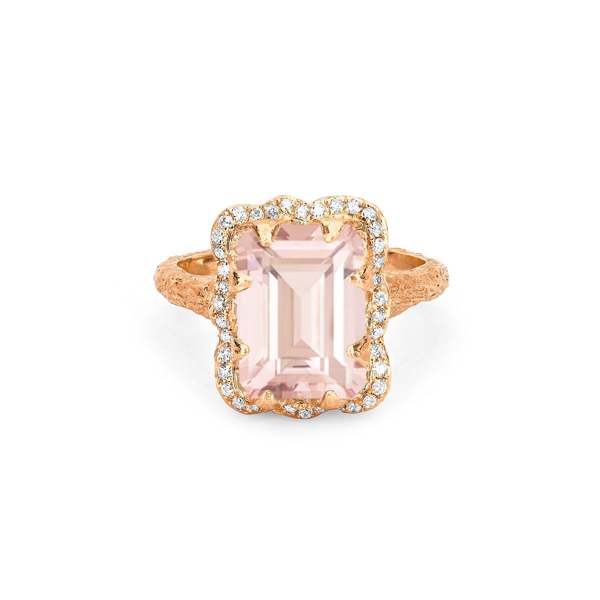 18k Queen Emerald Cut Morganite Ring with Pavé Diamond Halo