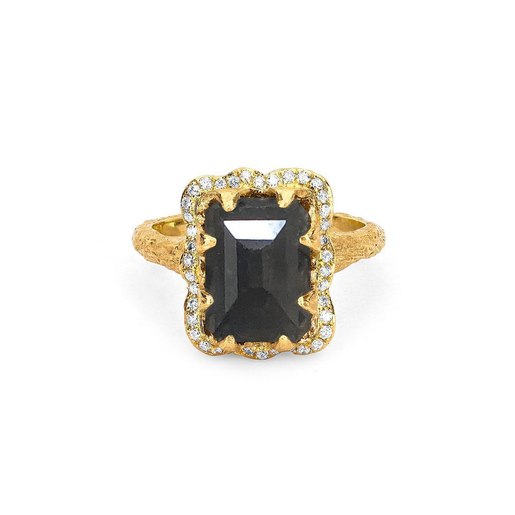 NEW! Queen Emerald Cut Black Diamond Ring with Full Pavé Halo NEW! Queen Emerald Cut Black Diamond Ring with Full Pavé Halo