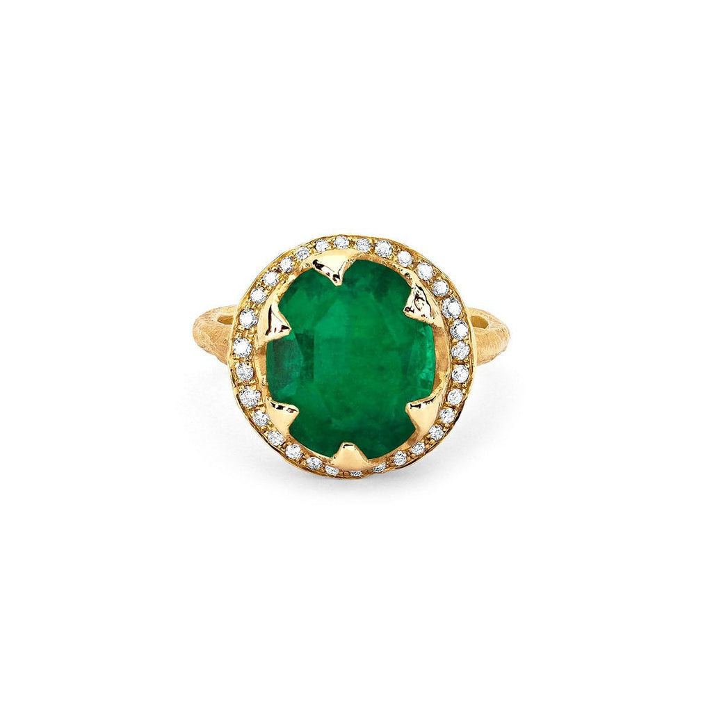 18k Queen Oval Colombian Emerald Ring with Full Pavé Diamond Halo 18k Queen Oval Colombian Emerald Ring with Full Pavé Diamond Halo