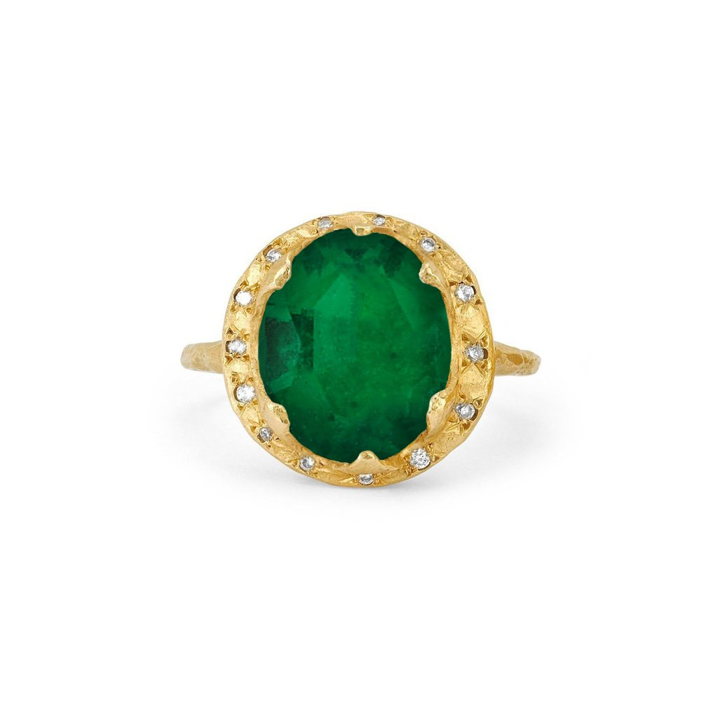 18k Queen Oval Colombian Emerald Ring with Sprinkled Diamonds