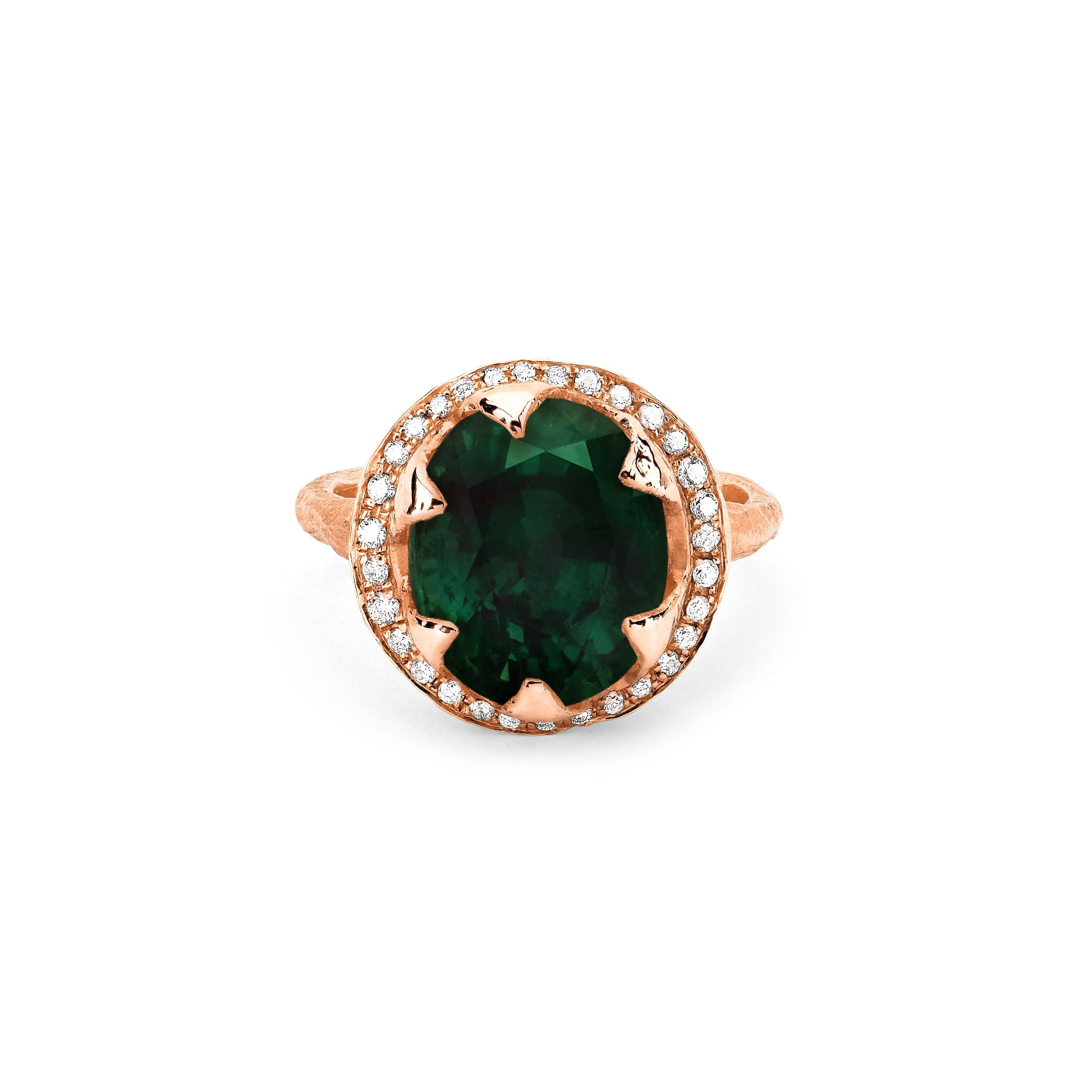 Queen Oval Zambian Emerald Ring with Full Pavé Diamond Halo