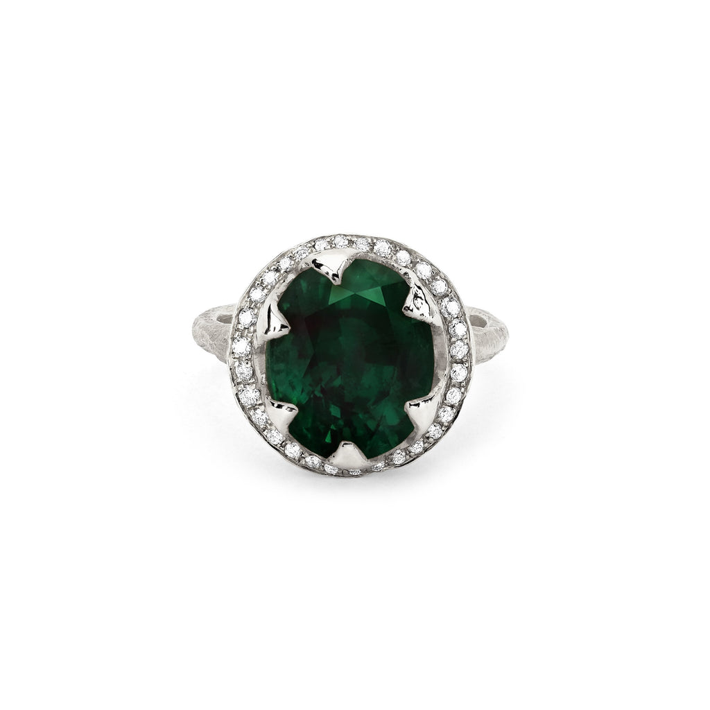 Queen Oval Zambian Emerald Ring with Full Pavé Diamond Halo Queen Oval Zambian Emerald Ring with Full Pavé Diamond Halo