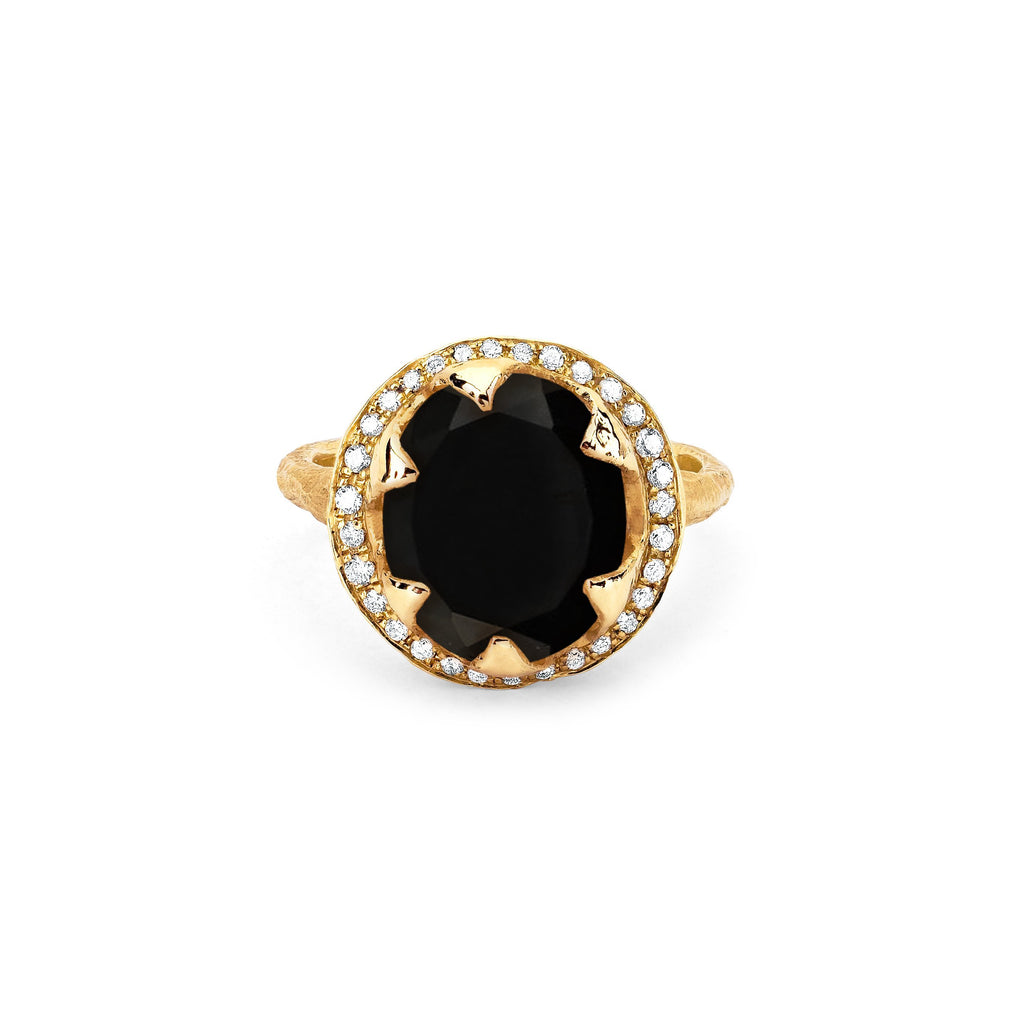 NEW! Queen Diamond and Oval Onyx Ring with Full Pavé Halo NEW! Queen Diamond and Oval Onyx Ring with Full Pavé Halo