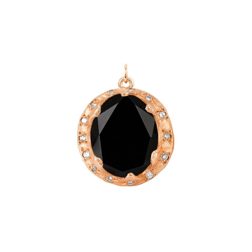 Queen Oval Onyx Charm with Sprinkled Diamonds
