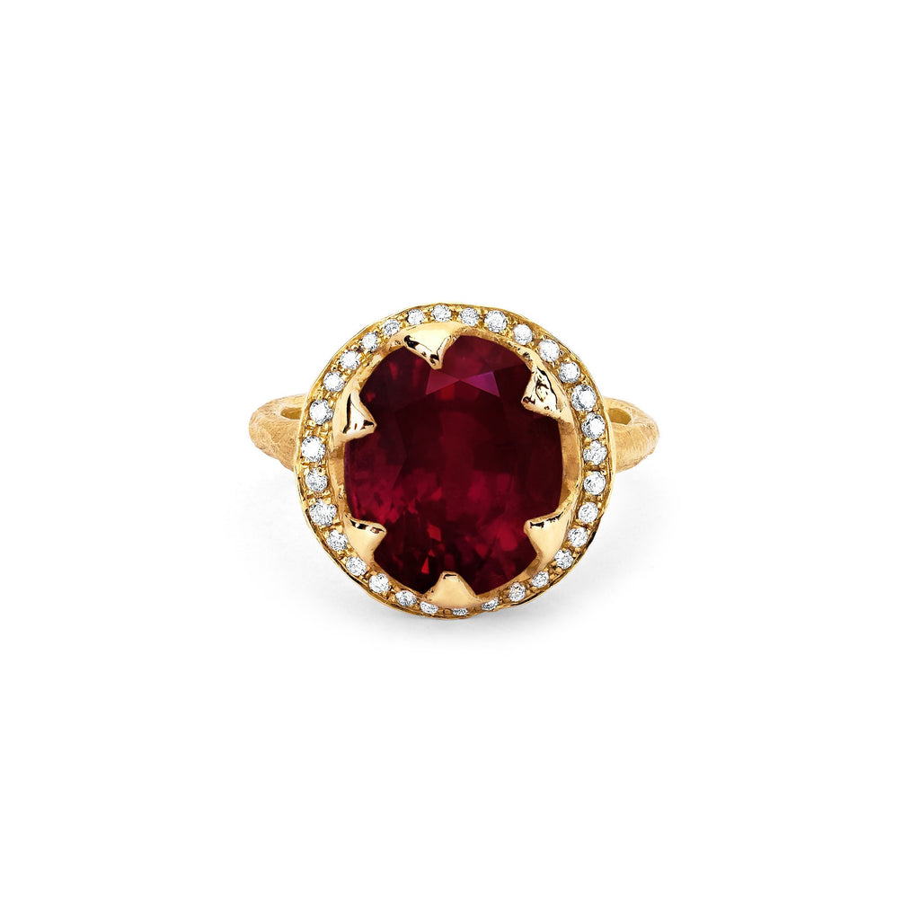NEW! Queen Oval Ruby Ring with Full Pavé Diamond Halo NEW! Queen Oval Ruby Ring with Full Pavé Diamond Halo