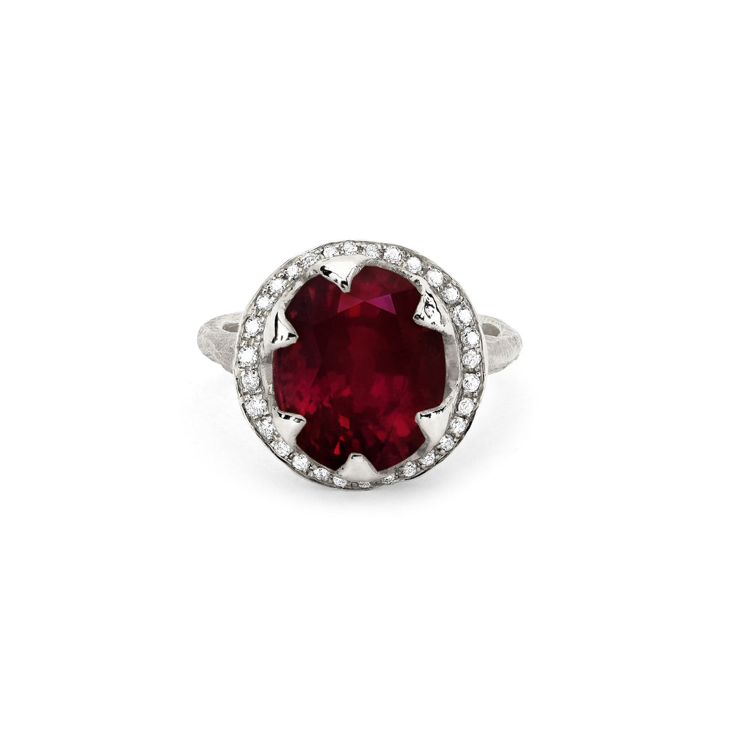 NEW! Queen Diamond and Oval Ruby Ring with Full Pavé Halo NEW! Queen Diamond and Oval Ruby Ring with Full Pavé Halo