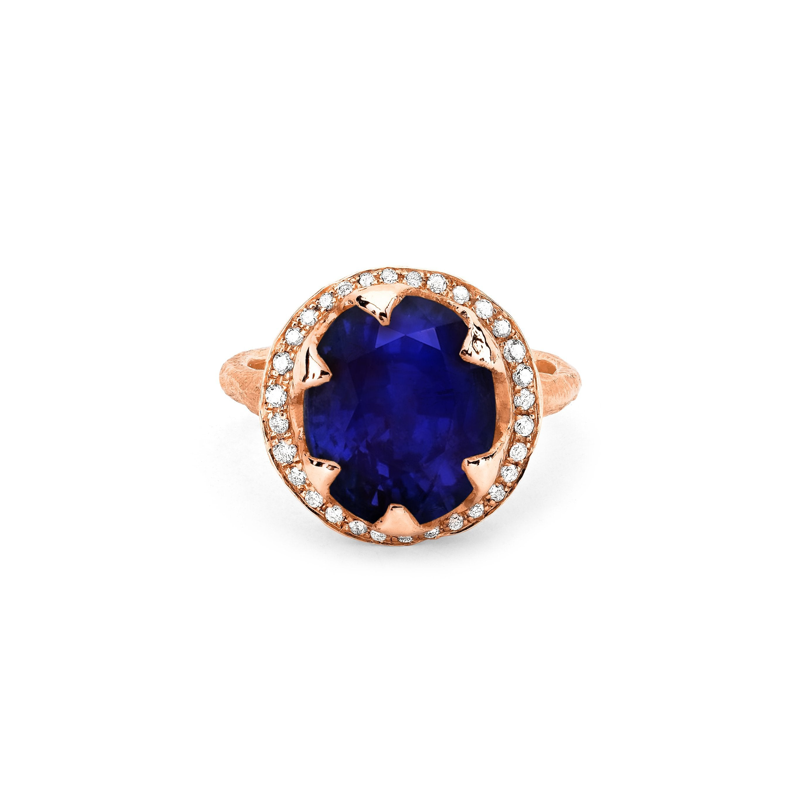 Queen Oval Sapphire Ring with Full Pavé Diamond Halo