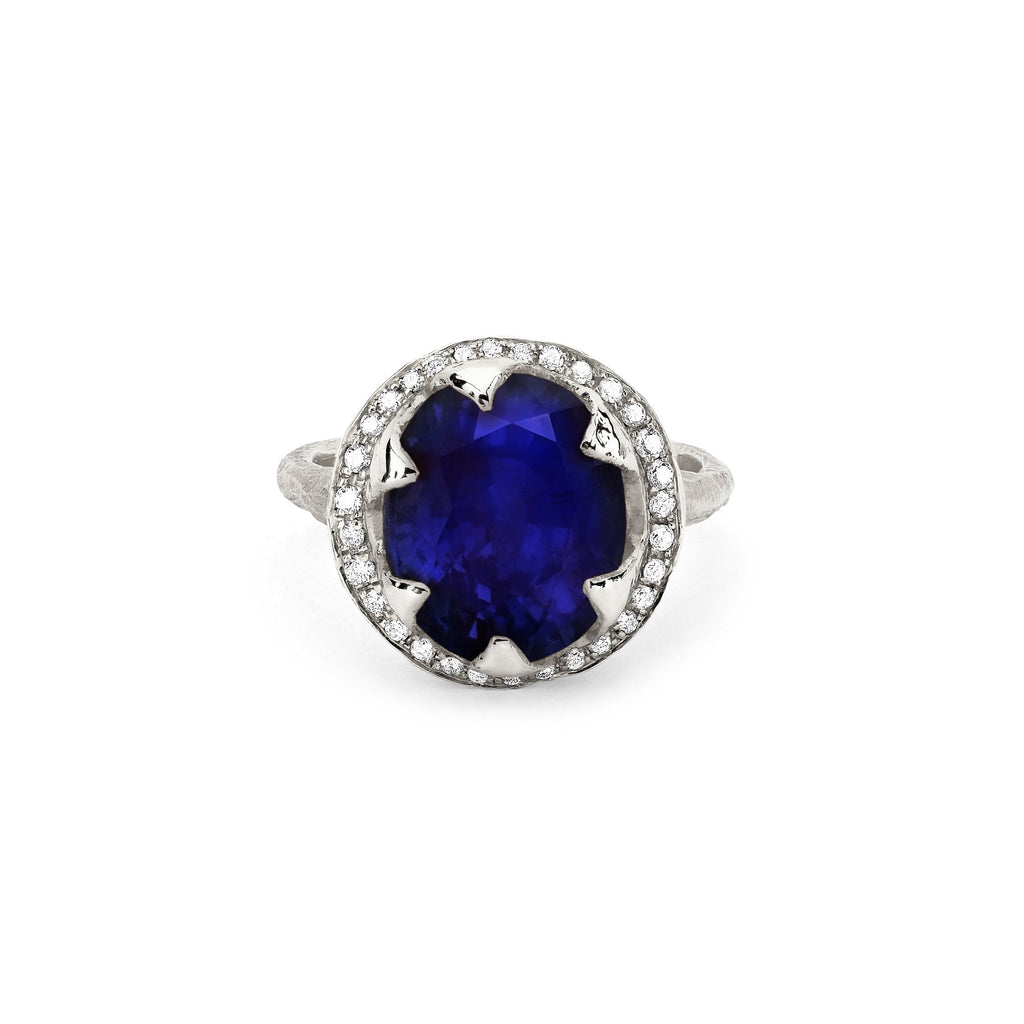 Queen Oval Sapphire Ring with Full Pavé Diamond Halo Queen Oval Sapphire Ring with Full Pavé Diamond Halo