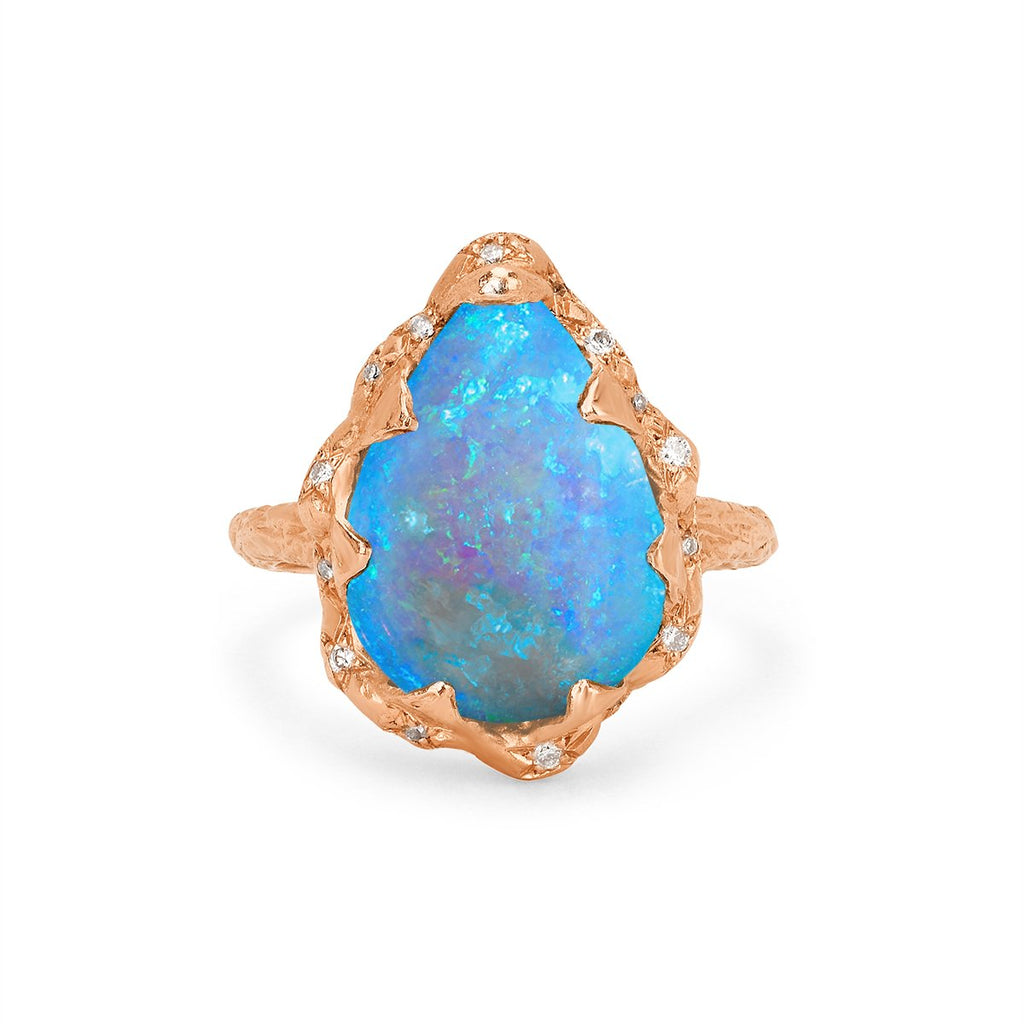 Queen Water Drop Cabochon Blue Opal Ring with Sprinkled Diamonds Queen Water Drop Cabochon Blue Opal Ring with Sprinkled Diamonds
