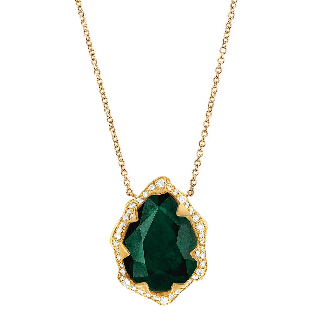 NEW! Queen Water Drop Zambian Emerald Necklace with Full Pavé Diamond Halo NEW! Queen Water Drop Zambian Emerald Necklace with Full Pavé Diamond Halo