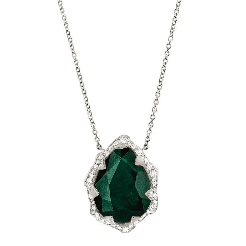 Queen Water Drop Zambian Emerald Necklace with Full Pavé Diamond Halo
